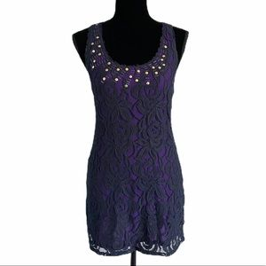 Free People Purple/Navy Stretch Lace Mini Dress